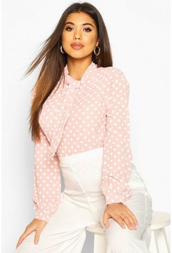 Pastel pink pink Pussy Bow Polka Dot High Neck Blouse