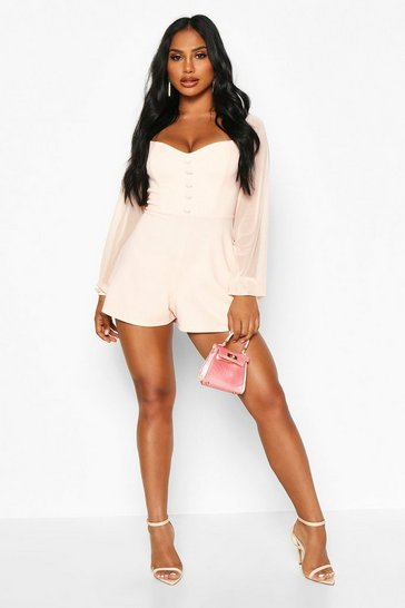 Nude Off The Shoulder Mesh Button Playsuit