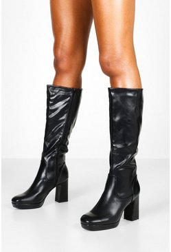 Black svart Block Heel Platform Knee High Boots