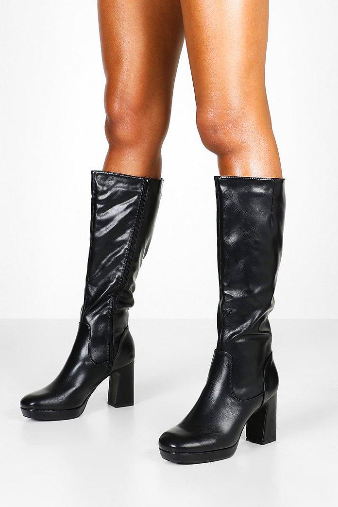 dames zwart knee hoog platform laarzen