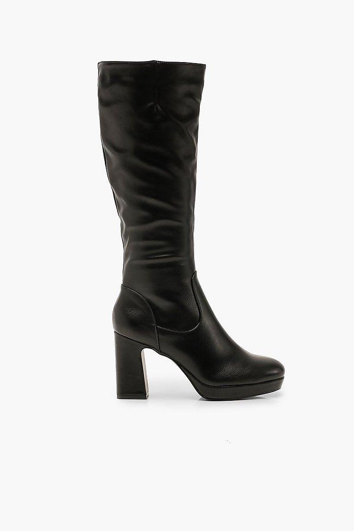 Stivali alti al ginocchio con plateau e tacco largo | boohoo  TRqDsx