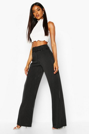 Black Pinstripe Belted Stretch Crepe Wide Leg Trousers