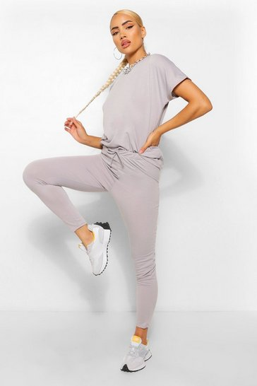 Grey Boxy T-Shirt And Jogger Co-Ord Set