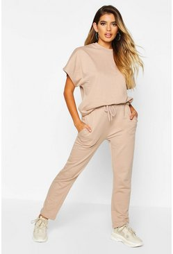 Stone beige Boxy T-Shirt And Jogger Co-ord Set