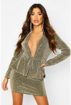 Gold Peplum Structured Glitter Dress
