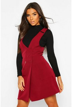Berry red Pocket Front Pinafore Dress