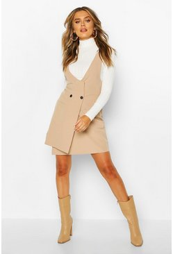 Stone beige Pocket Front Pinafore Dress