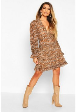 Brown Chiffon Animal Print Ruffle Skater Dress