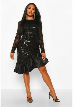 Black Sequin Baroque Ruffle Mini Dress