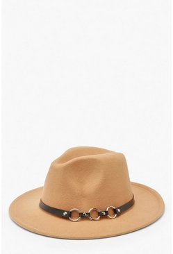 Caramel Ring Detail Fedora Hat
