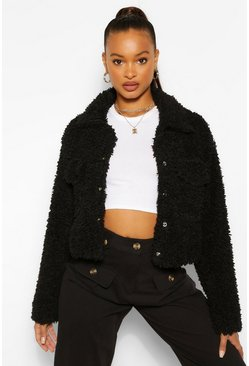 Black Faux Fur Teddy Shacket