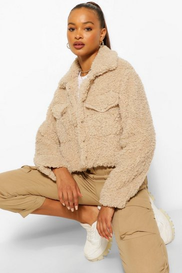 Stone beige Faux Fur Teddy Shacket