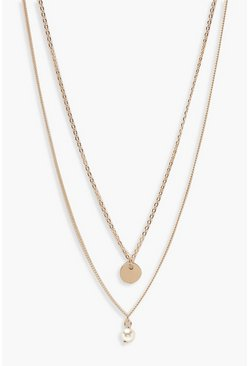 Gold metallic Circle & Pearl Simple Layered Necklace