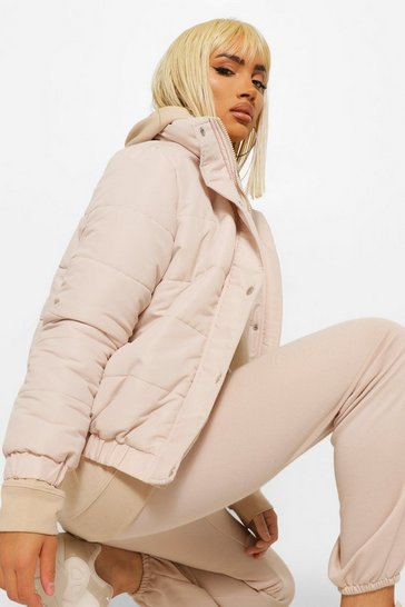 Stone beige Funnel Neck Puffer Jacket