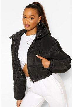 Black Hooded Crop Puffer