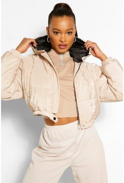 Stone beige Hooded Crop Puffer