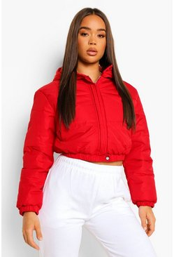 Wine red Hooded Crop Puffer