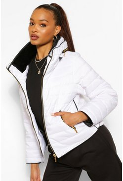 White Fitted Quilted Jacket