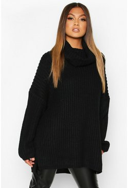 Black Chunky Oversized Boyfriend Sweater