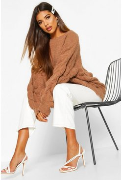 Biscuit beige Oversized Bobble Knit Jumper