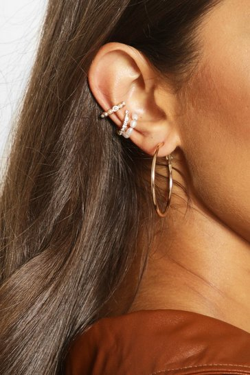 Multi Pearl And Diamante Ear Cuff Pack