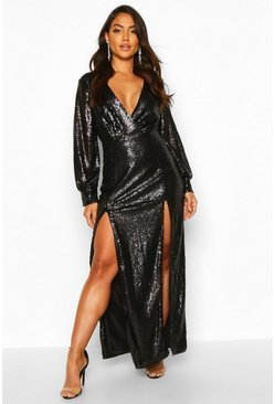 Black Sequin Wrap Double Split Maxi Dress