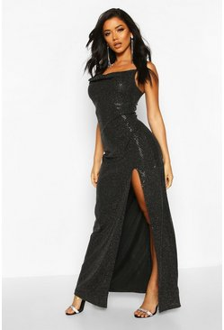 Black Sequin Cowl Neck High Split Maxi Dress