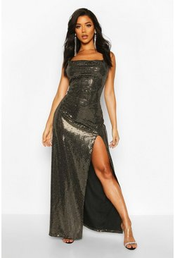 Gold metallic Sequin Cowl Neck High Split Maxi Dress