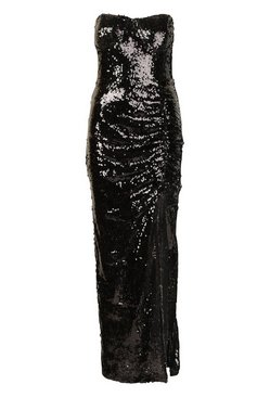 Black Sequin Cupped Rouche Split Maxi Dress