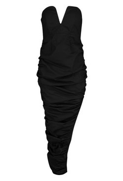 Black Woven Plunge Rouche Hem Maxi Dress