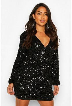 Black Sequin Plunge Oversized Shift Dress
