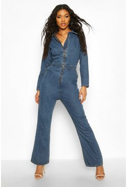 Mid blue blue Zip Detail Denim Boilersuit