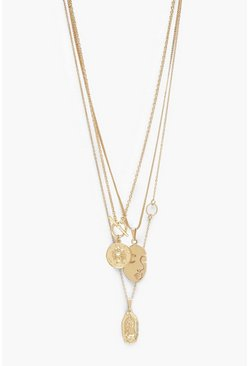 Gold metallic Multi Charm And T-Bar Layered Necklace