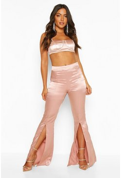 Nude Split Front Satin Flared Trousers