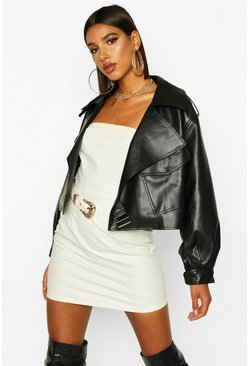 Black Oversized Crop Biker Faux Leather Jacket