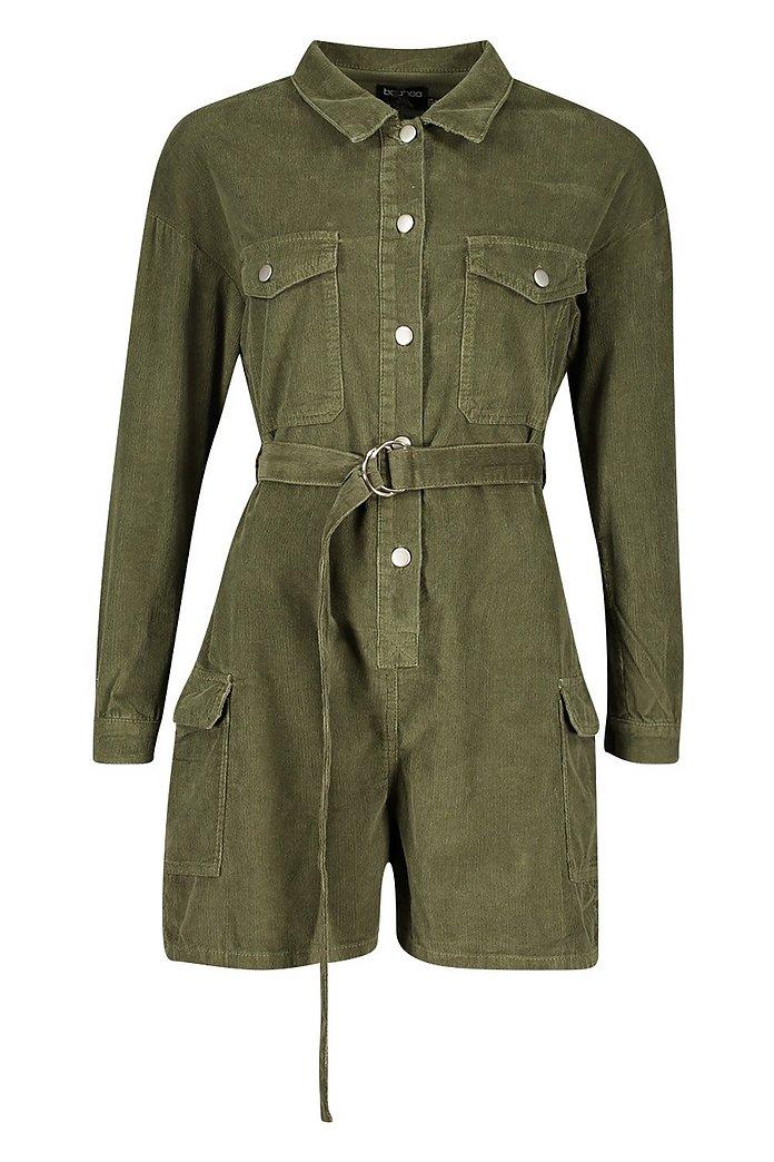 Long Sleeve Belted Cord Short Boilersuit | Boohoo UK