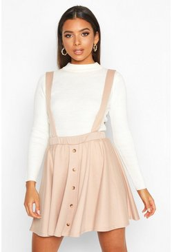 Sand beige Button Front Pinafore Skirt