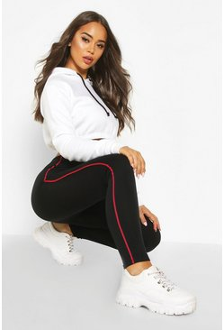 Black Fleece Lined Side Stripe Super Soft Leggings