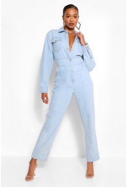 Light blue blue Belted Utility Denim Boilersuit