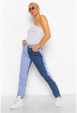 Blue Contrast High Rise Boyfriend Jean