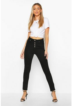 Black Exposed Button Front High Rise Skinny Jeans