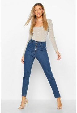 Mid blue blue Exposed Button Front High Rise Skinny Jeans