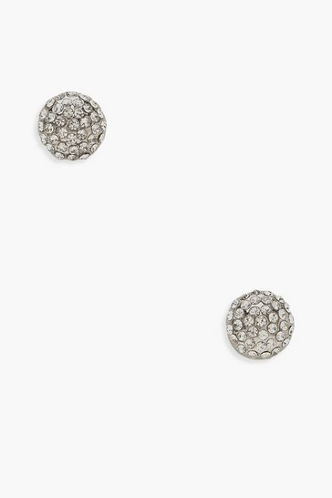 Silver Diamante Cluster Stud Earrings