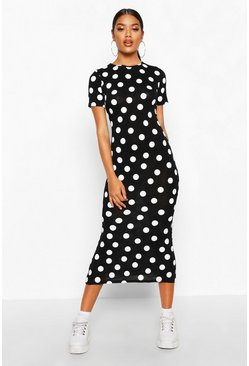 Black Spot Crew Neck Midaxi Dress