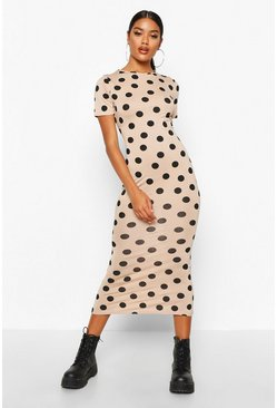 Stone beige Spot Crew Neck Midaxi Dress