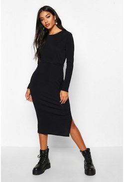 Black Rib Crew Neck Belted Midi Dress