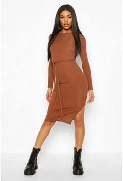 Chocolate brown Rib Crew Neck Belted Midi Dress