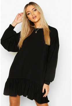 Black Drop Hem Long Sleeve Sweatshirt Dress