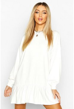 White Drop Hem Long Sleeve Sweatshirt Dress