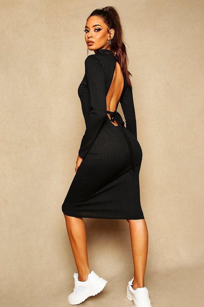 Midiklänning öppen rygg och knytband | Boohoo